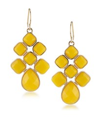 1St And Gorgeous Yellow Cabachon Chandelier Earrings Gold