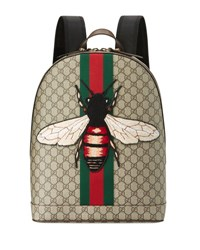 Gucci Men's Web Animalier Backpack With Bee Tan