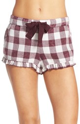 Make Model Women's Plaid Ruffle Pajama Shorts Burgundy Stem Buffalo Check
