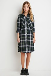Forever 21 Tartan Plaid Midi Dress Navy Green