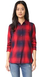 Madewell Ex Bf Shirt In Red Blue Plaid Red Sangria