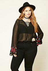 Forever 21 Plus Size Peasant Top Black Red