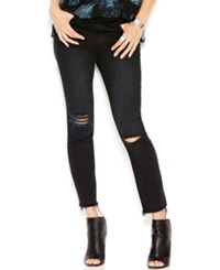 Rachel Rachel Roy Ripped Raw Edge Ankle Jeans Off Black Wash