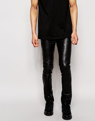 Religion Leather Trousers In Skinny Fit Black