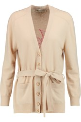 Emilio Pucci Intarsia Wool And Cashmere Blend Cardigan Nude