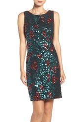 Chetta B Women's Sequin Floral Sheath Dress