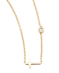 Shy By Sydney Evan Cross And Single Diamond Necklace Gold