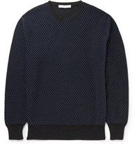 Givenchy Slim Fit Mesh Effect Cotton Blend Sweater Navy