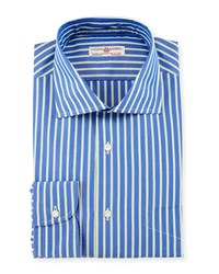 Luciano Barbera Striped Woven Sport Shirt Blue Green