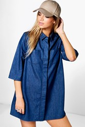 Boohoo Denim Swing Dress Blue