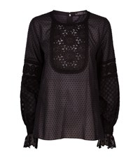 Andrew Gn Broderie Anglaise Embroidered Long Sleeve Top Female Black
