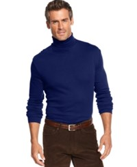 John Ashford Big And Tall Long Sleeve Turtleneck Interlock Shirt Navy Blue