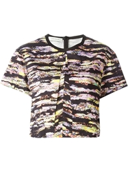 Cedric Charlier Graphic Print Cropped T Shirt Multicolour