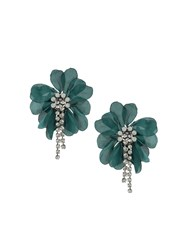 Lanvin Oversized Flower Clip On Earrings Blue