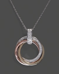 Bloomingdale's Diamond Circle Pendant Necklace In 14K White Yellow And Rose Gold .20 Ct. T.W 18 No Color