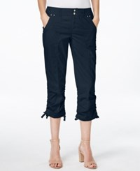 Inc International Concepts Petite Ruched Leg Cargo Capri Pants Only At Macy's Deep Twilight