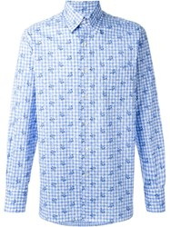 Canali Checked Floral Print Button Down Shirt Blue