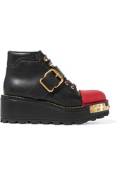 Prada Embellished Leather Boots Black