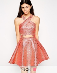 Lashes Of London Geo Jacquard Prom Dress With Cross Front Pink