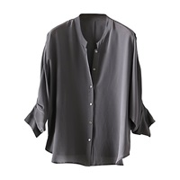Poetry Pure Silk Shirt Dark Grey Aqua Grey