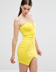 Twin Sister Scuba Mini Sweetheart Bodycon Dress With Wrap Over Skirt Yellow