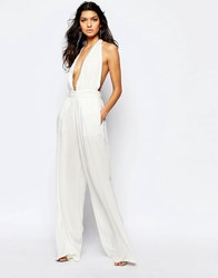 The Jetset Diaries Hammock Plunge Neck Jumpsuit In White Ivory