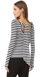 Natasha Zinko Striped Top Black White