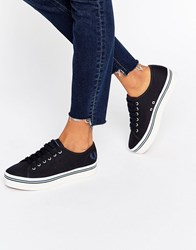 Fred Perry Phoenix Navy Canvas Flatform Plimsoll Trainers Navy Midnight Blue