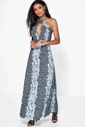Boohoo Wrap Bodice Backless Floral Maxi Dress Black