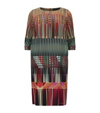 Marina Rinaldi Geometric Print Silk Dress Female Multi