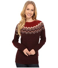 Fjall Raven Vik Knit Sweater Dark Garnet Women's Sweater Tan