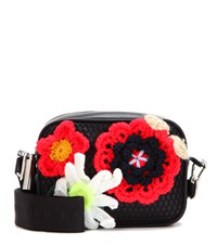 Christopher Kane Box Crochet Embellished Leather Crossbody Bag Black