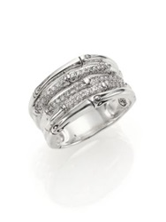 John Hardy Bamboo Diamond And Sterling Silver Five Row Ring