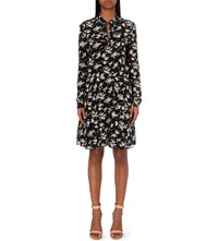 The Kooples Floral Print Silk Dress Black Beige