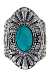 Stephan And Co Fluted Turquoise Stone Ring Size 7 Blue
