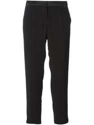 Sessun Crepe Tapered Crop Trousers Black
