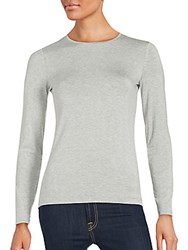 Saks Fifth Avenue Black Solid Long Sleeve Tee White