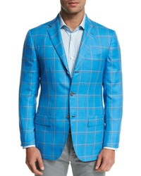 Kiton Large Plaid Three Button Sport Coat Blue