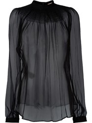 No21 Billowing Sleeve Sheer Blouse Black