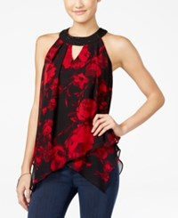 Amy Byer Bcx Juniors' Printed Asymmetrical Halter Top Red Black