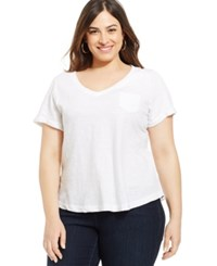 Styleandco. Style And Co. Plus Size V Neck Tee Bright White