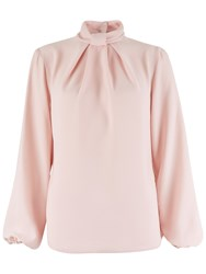 Closet Knot Collar Long Sleeve Blouse Pink
