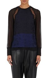 3.1 Phillip Lim Women's Lace And Chiffon Top Blue