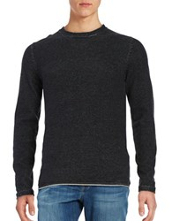 Selected Marled Cotton Sweater Black