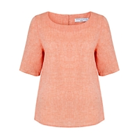 John Lewis Capsule Collection Notch Neck Linen Tunic Top Peach