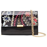 Ted Baker Kerey Treasured Trinkets Leather Clutch Bag Black