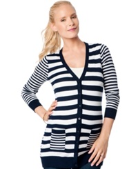 A Pea In The Pod Maternity Striped Cardigan Midnight White