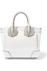 Christian Louboutin Eloise Small Spiked Textured Leather Tote White