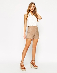 Mango Suede Shorts With Button Detail Beige