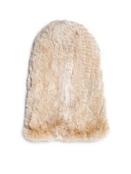 Surell Rabbit Fur Slouch Beanie Natural